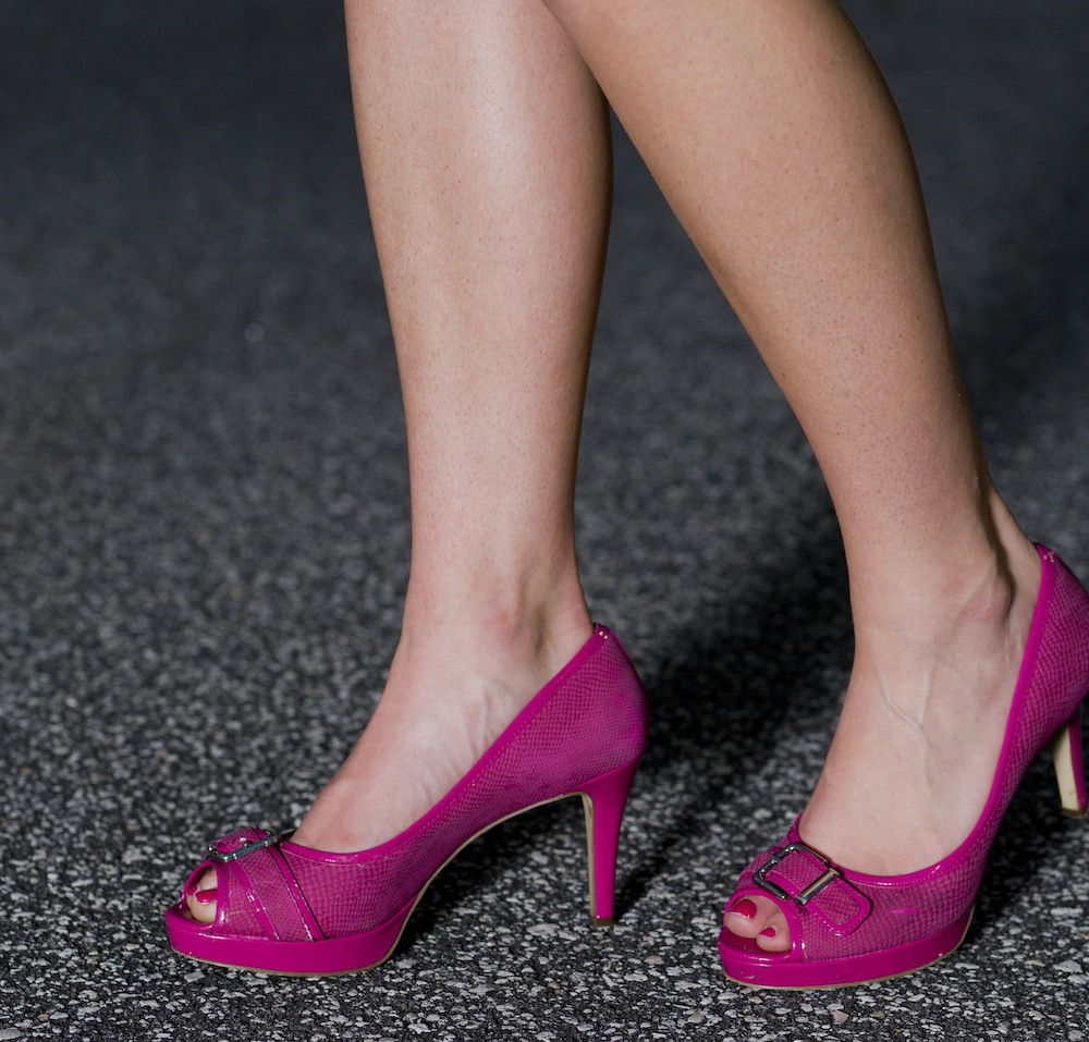 hot pink peep toe heels
