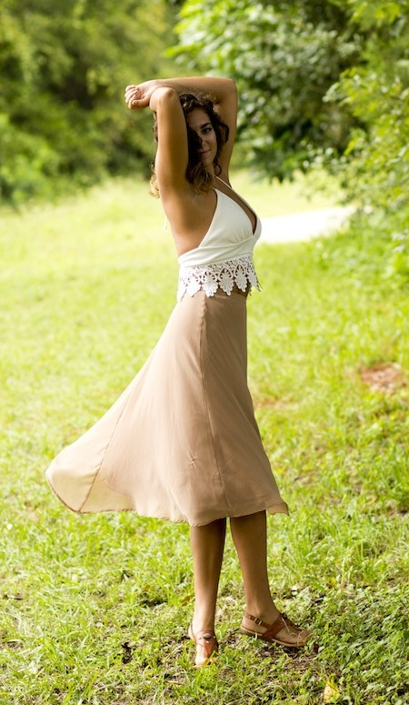 Lace halter crop top and long sheer skirt