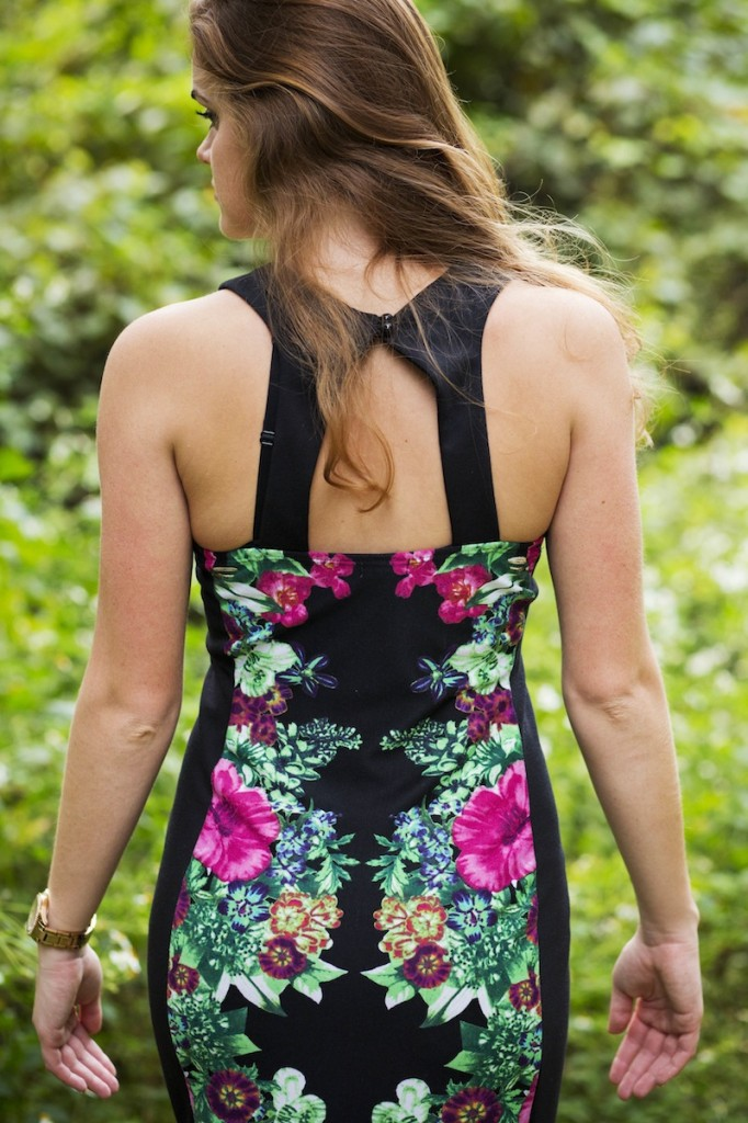 Hot pink and green floral dress