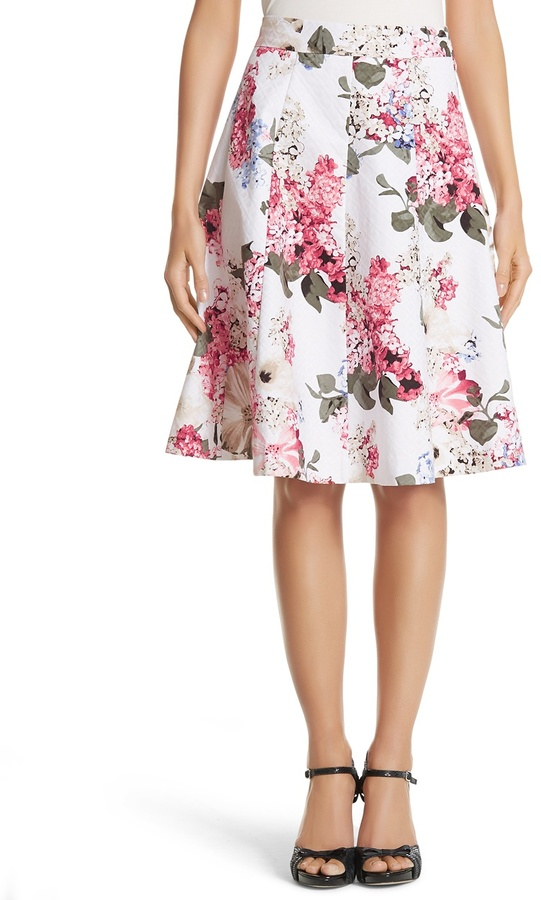 white house black market floral printed skirt