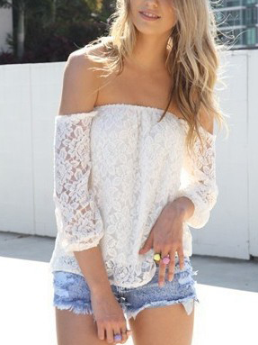 off the shoulder lace flowy top