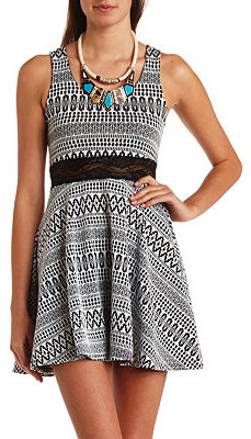 black and white lace accent dress