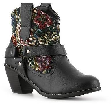 black printed cowboy boots with embroidery
