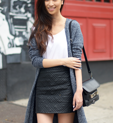 Maxi Knit & Quilted Leather Skirt