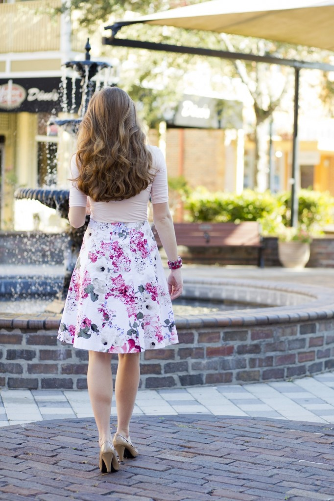 white house black market floral midi skirt