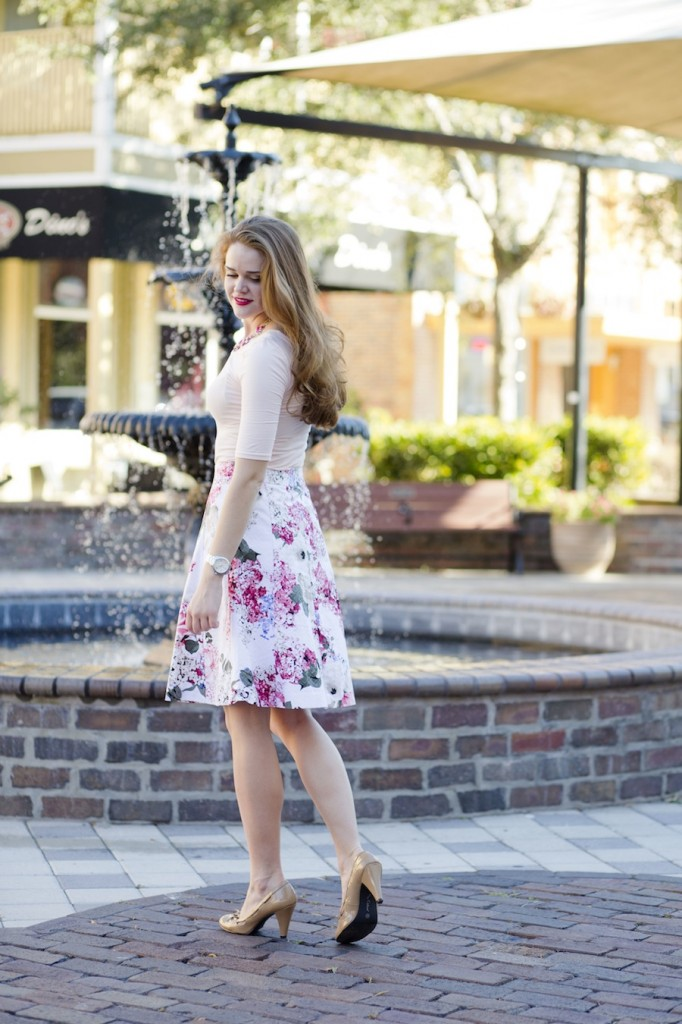 Pink and white Floral Midi skirt
