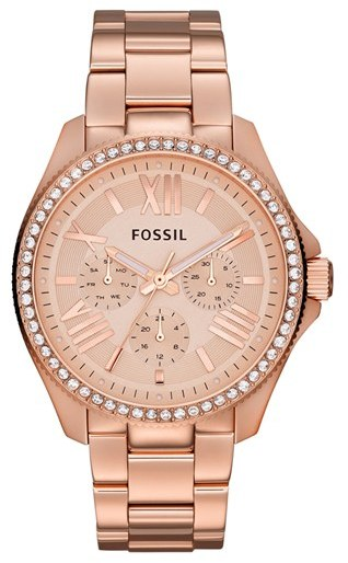 fossil rose gold watch with stone accents
