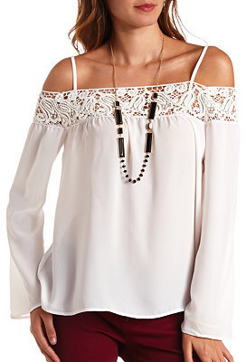 white flowy off the shoulder top