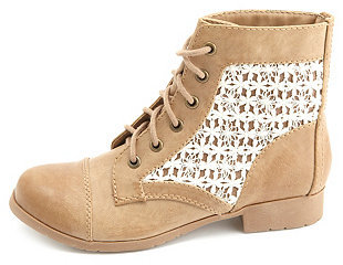 beige boots with lace accents