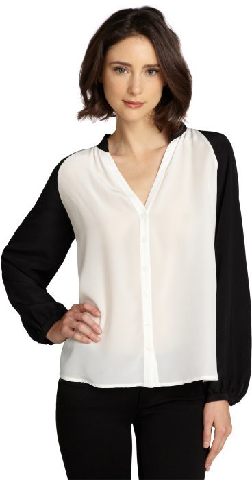 white and black sleave sheer blouse