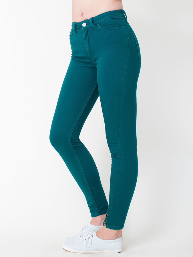 teal high waisted jeans American Apparel