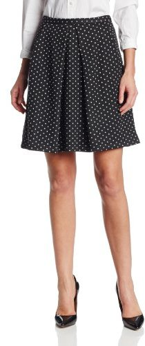 black and white polka dot business skirt