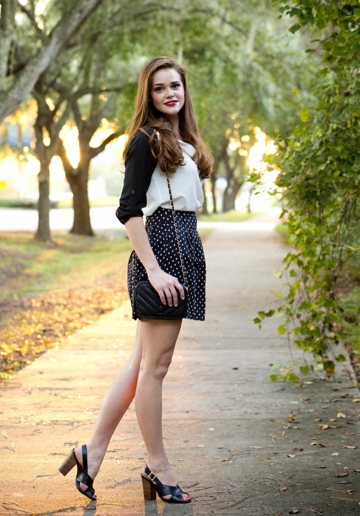 polka dot business skirt