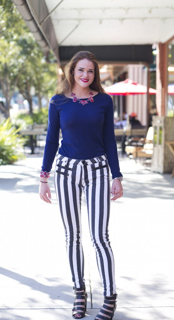 bold stripped black and white pants