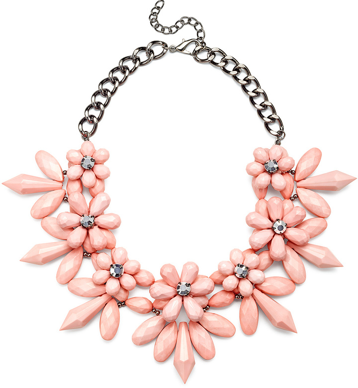 pink statement necklace with silver