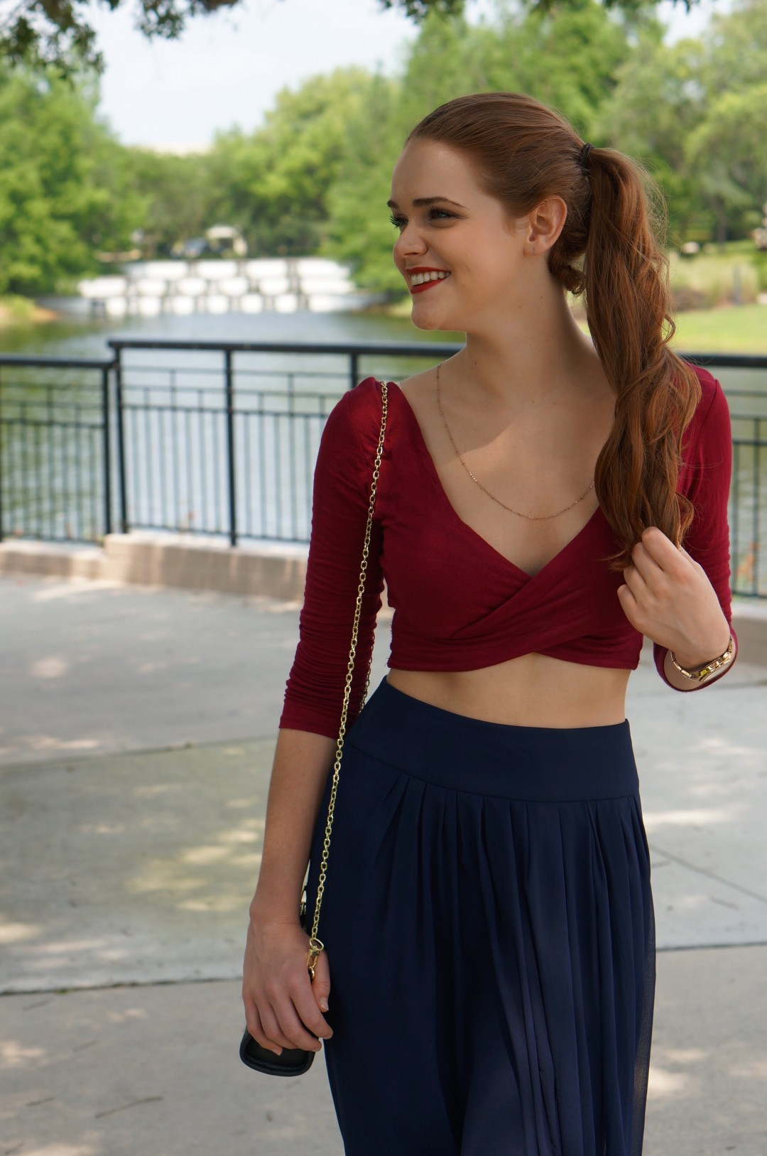 red-and-navy-midi-skirt