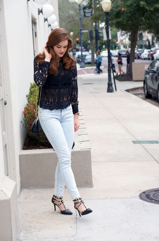 black-lace-button-down